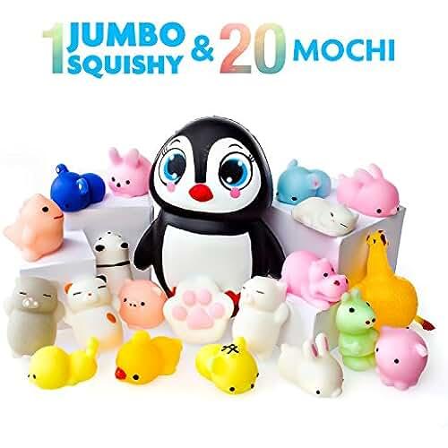 juguetes kawaii Juguetes Mochi Squishys - Pack de 20 Squishys y 1 Squishi Pingüino Jumbo de Hinchado Lento - Gato Mochi Squishy, Squishy Panda, Animales Mochi - Squishys Kawaii Jumbo - Squishys Para Llavero Correa