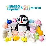 Mochi Squishy Spielzeug - 20er Pack Squishies Plus 1 Jumbo Squishie - Sanft Ansteigende Pinguin Squishy - Mochi Squishy Tiere, Katze, Panda - Kawaii Squishys Jumbo - Schlüsselanhänger Squishys -