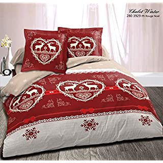 Alpes Blanc Bettbezug 220 x 240 cm + 2 Kopfkissenbezüge Winter Rot/Bettwäsche für Doppelbett/Baumwolle / Esprit Montagne, Rouge, Beige, 220 x 240 cm