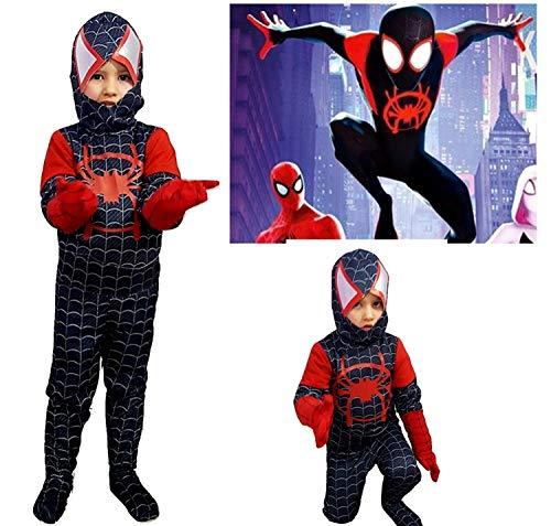 PICCOLI MONELLI Costume Spiderman Nero Bambino Un Nuovo Universo 6 - 8 Anni Vestito Uomo Ragno Bimbo di Carnevale Nuovo e ultimo Modello Film Homecoming 2019