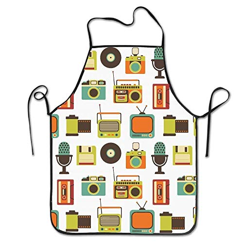 dfhfd delantales,Delantales para barbacoas y ahumadores,bevoicep Retro Media Adjustable Apron for Kitchen BBQ Barbecue Cooking Lady's Men's Great Gift for Wife Ladies Men Boyfriend Women's Fash