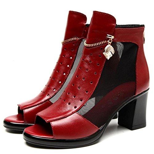 Lemon&T Peep-toe en cuir véritable Printemps féminin Antidérapant Sole 8CM Talons Chunky talons chaîne en métal sandales strass red