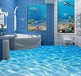Wongxl 3D Selbstklebende Aufkleber Auf Dem Boden Der Meeresoberfläche Welligkeit Bad Wc Fliesen Wasserdicht Poster 200cmX150cm