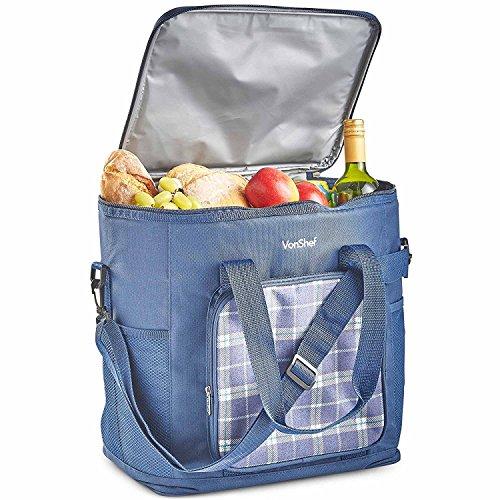 VonShef Bolsa Refrigerante de Tartán Azul Marino de 30L / Bolso de...