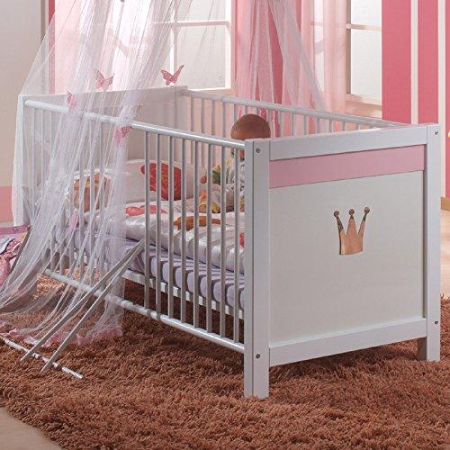 Babybett Sissi, Kinderbett, weiß/rosa 70x140