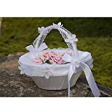JUYUAN Vintage Weiß Satin Spitze Bow Hochzeits Blumen Mädchen Korb Kristall Strass Dekor(Style 12)