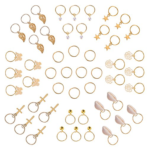 50 Stück Hair Braid Ringe Hair Loops Clips Gold Ring Shell Blätter Star Bells Rosen Schmetterling Glocken Perle Anhänger Ringe Set, Gold