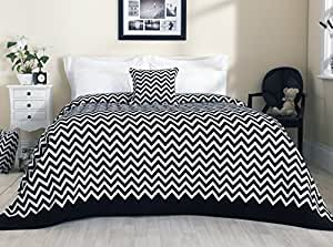 Ciniglia Chevron misto cotone/copriletto/Coperta, Black and White, King size