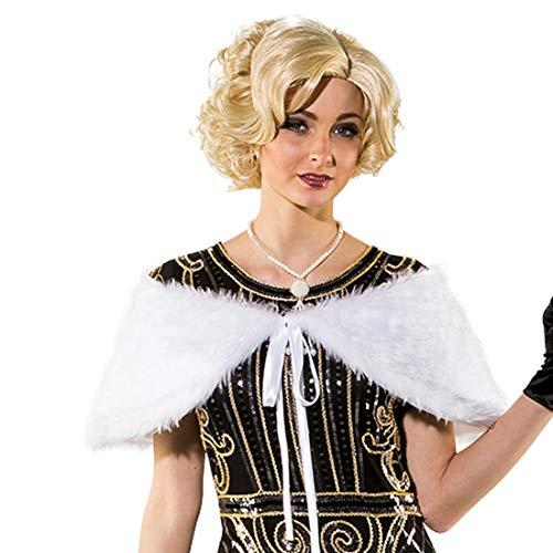 Fell-Stola für Frauen | Weiß | Universelles Damen-Accessoire Flapper-Style | Bestens geeignet für Mottoparty & Fastnacht ()