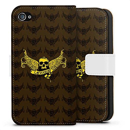 Apple iPhone X Silikon Hülle Case Schutzhülle Gold Skull Nevermind Sideflip Tasche weiß