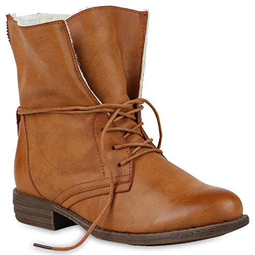 Stiefelparadies Damen Stiefeletten Warm Gefütterte Stiefel Schnürstiefeletten 147853 Hellbraun Avelar 37 Flandell
