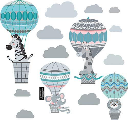 greenluup große, umweltfreundliche Wandsticker Wandtattoos Kinderzimmer Mädchen Jungen Baby Heißluftballons Elefant Giraffe Tiere Rosa Mint Grau aus Vlies (w20)