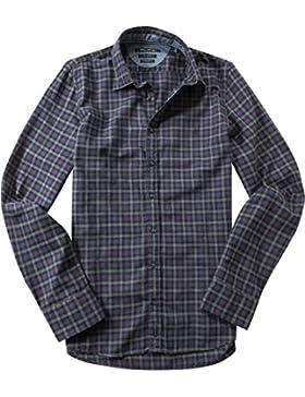 Marc O'Polo Herren Hemd Baumwolle Oberhemd Kariert, Größe: M, Farbe: Violett