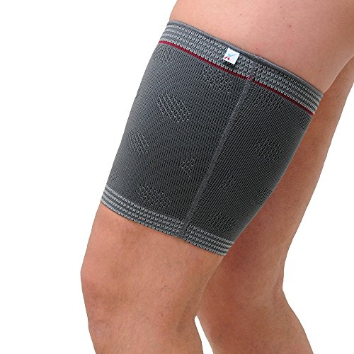 Medically Approved - Woven Elastic Thigh & Hamstring Sleeve - Offers compression, warmth & improved blood circ to quads & hamstrings - Ideal for sports (Med: Mid Thigh Circ: 47-51cm)