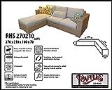 RHS270210 links Loungemöbel Abdeckschutz für L-Form, passt am besten am Set von max. 265 x 205 cm. Abdeckung für Lounge Eckset, Schutzhülle in L-Form für Lounge Sets, Schutzplane, Regenschutz Ecklounge