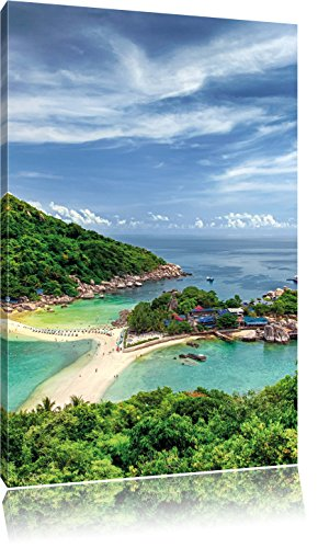 Pixxprint Inselstadt im Pazifik/Format: 120x80cm / Leinwandbild fertig bespannt Wandbild Kunstdruck -