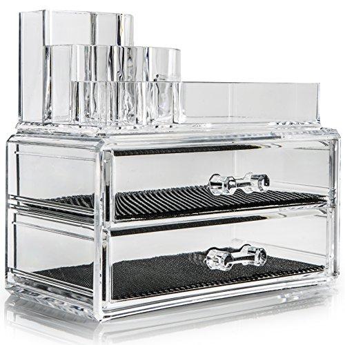 Organiseur en acrylique SO01111, large avec 2 tiroirs et 8 compartiments transparents pour maquillage, bijoux, cosmétiques, 19 x 10 x 16 cm
