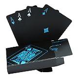 Wasserdichtes Pokerkarten schwarze Spielkarten Profi Poker Karte Spielkarte playing cards aus Plastik Top Qualität Plastic Poker für Ihr Poker Vergnügen (Gold-Kohlefaser)