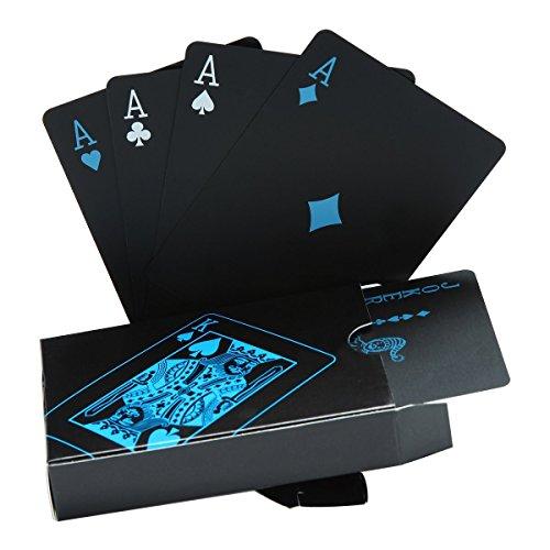 Cartas de póquer impermeables negros que juegan tarjetas de póquer profesionales tarjetas de la tarjeta de juego de juego de plástico de alta calidad de plástico de póquer para su placer de póquer (Fibra de oro)