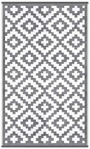 Green Decore Tapis d'Intérieur et d'Extérieur Réversible en Plastique Recyclé, Indoor/Outdoor Tapis Écologique Léger - 90 x 150 cm Gris/Blanc