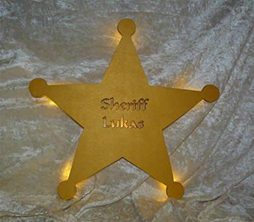 Schlummerlicht24 Led Wand-Deko Western Cowboy Sheriff Stern mit Name-n, als Zimmer-beleuchtung für Kind-er und Erwachsene (Star Western Wand)