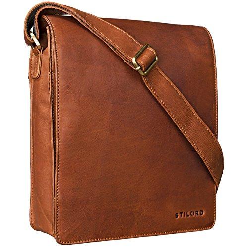 Preisvergleich Produktbild STILORD 'Lars' Vintage Umhängetasche Leder braun Herren für 13,3 Zoll Tablet MacBooks und iPad Schultertasche Herrentasche Messenger Bag Echtleder cognac braun