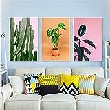 tzxdbh Kaktus Poster skandinavischen Ornament malerisch auf der Leinwand grüne Pflanzenblätter Poster Wohnzimmer Wohnkultur Wandmalerei mit Rahmen 50x75cm