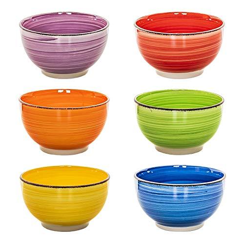 Müslischale (esto24 Design 6er Set Müslischalen Dessertschale 750ml Porzellan in tollen Farben - Das Highlight auf jedem Tisch (Müsli Bunt))