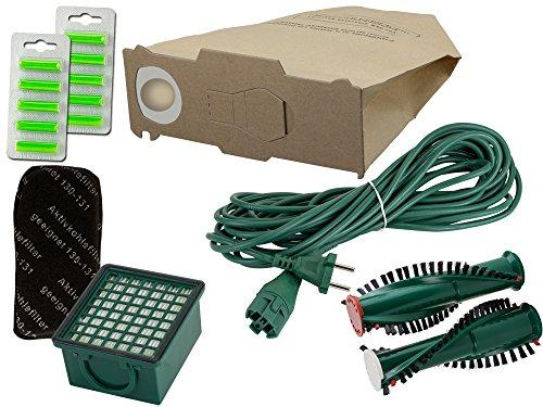 Wamos | 10 Staubsaugerbeutel Filterset Rundbürsten Duft Kabel geeignet für Vorwerk Kobold Vk 130 131 131 Sc Eb 350 351