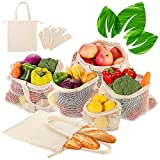 6er SET Obst- und Gemüsebeutel mit Griff Design Einkaufstaschen mit Brotbeutel aus Baumwolle...