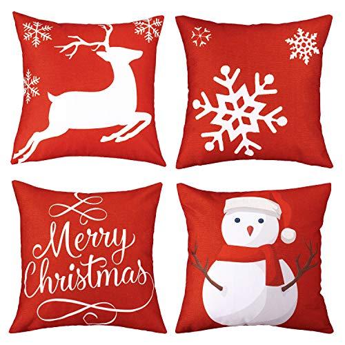 "Whaline 4 Piece Merry Christmas Pillow Case Snowman Reindeer Snow Cushion Cover, Cotton Linen Sofa Bed Throw Cushion Cover Decoration (18"" x 18"")"