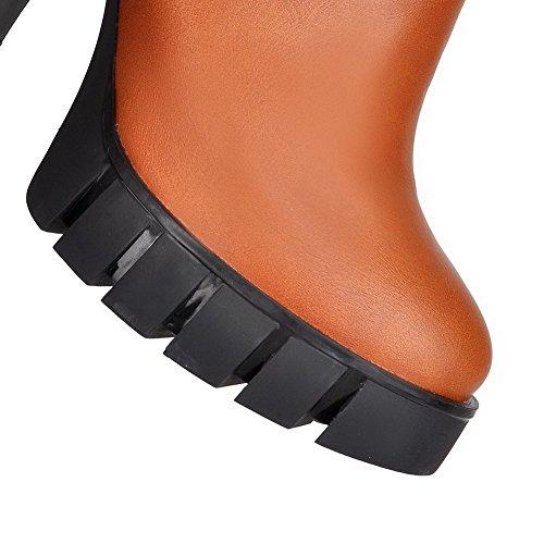 AgooLar Damen Hoher Absatz Blend-Materialien Niedrig-Spitze Rein Reißverschluss Stiefel Gelb