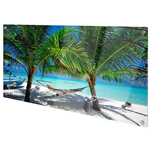 banjado Wandgarderobe aus Echtglas | Design Garderobe 80x40x6cm groß | Paneel mit 5 Haken | Flurgarderobe für Jacken und Mäntel | Garderobenleiste mit Motiv Strand