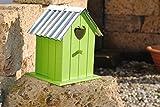 Kunert-Keramik Vogelhaus zum Hängen aus Holz,Metalldach,20cm,grün,%%mit Kleinen Fehlern%%