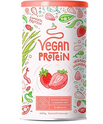 Vegan Protein | ERDBEER | Pflanzliches Proteinpulver aus gesprossten Reis, Erbsen, Chia-Samen, Leinsamen, Amaranth, Sonnenblumen- und Kürbiskernen | Mit Verdauungsenzymen | 600 Gramm Pulver -