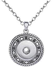 Morella Damen Halskette Edelstahl 50 cm oder 70 cm mit Click-Button Träger für Click-Button Druckknöpfe in Samtbeutel