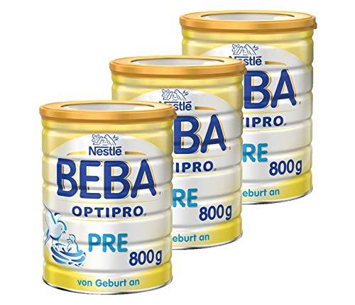 Nestlé BEBA OPTIPRO PRE Anfangsmilch, Baby-Milch mit guter Verträglichkeit, Milchpulver, für Säuglinge, ab Geburt, 3er Pack (3 x 800 g)