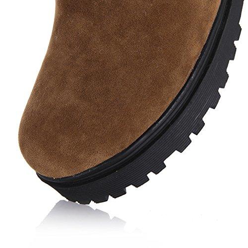 443aba0c23710 ... wealsex Bottes Fourrées Femme Botte de Neige Mi Mollet Plate Lacet Chaud  Chaussure Hiver Confort Mode.