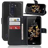 Supremery Etui pour LG K8 Étui protecteur - Flip Cover en noir avec fermeture magnétique, fonction d'état, Cartes argent pli