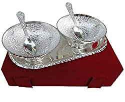 TIED RIBBONS Exotic Serving Two Bowl and Spoons with Tray_Silver metal Finish_Beautiful Velvet Box_Serving this Diwali_ Best Traditional gift for Diwali