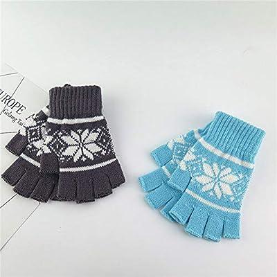 Leoie Women Knitted Half-Finger Gloves Snowflakes Winter Warm Woolen Gloves for Ladies