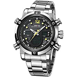 Alienwork DualTime Analogue-Digital Watch Chronograph LCD Wristwatch Multi-function Metal black silver OS.WH-5205G-05