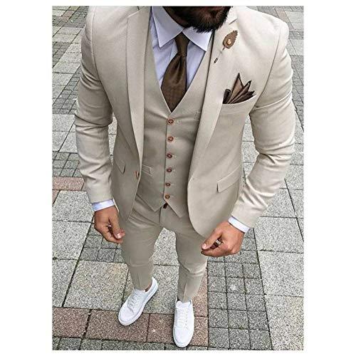 GFRBJK Coat Pant Designs Elfenbein Beige Herrenanzug Prom Tuxedo Slim Fit 3-teilig Bräutigam-Stil Anzüge Blazer , Wie Bild l XL -