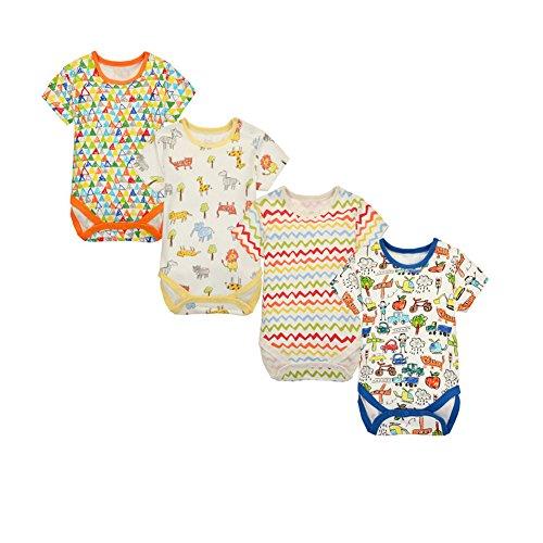 CuteOn Baby Jungen Mädchen 4pcs Kurzarm-Body Dreieck-Spielanzug Baby-Kleidung 18 Monate