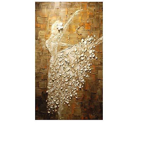 MAOYYM1 Handgemalte abstrakte Ballett Mädchen Ölgemälde Moderne Spachtel Leinwand Kunst Home Decor abstrakte Kunst Wohnzimmer Wand Dekor kein gerahmt (nur Leinwand) -