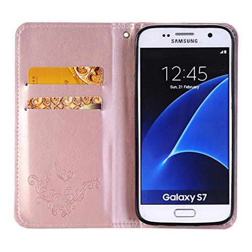 Galaxy J5 Ledertasche Hülle,EVERGREENBUYING - Blumenmuster Handyhülle SM-J500F Aufklappbare Leder Schutzhülle im Flip Etui Cover Style Für Samsung Galaxy J5 (2015) Gold Rose Gold