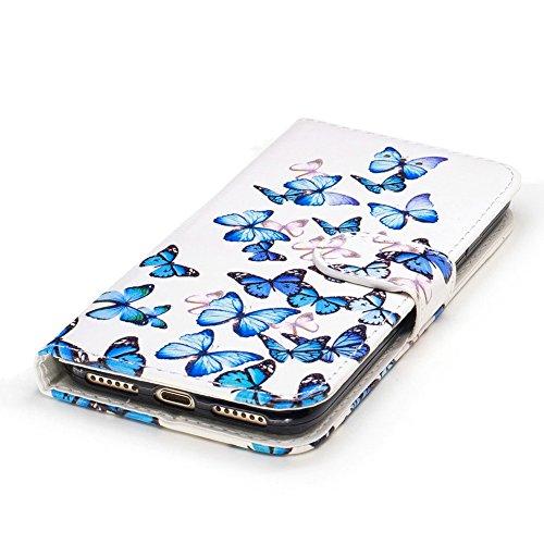iPhone 7 Flip Handycover, iPhone 7 Bunte Stil Schutzhüllen, Aeeque® Slim Full Body Premium [Standfunktion Kartenfächer] Luxus Glänzend Funkeln Diamant Muster Handy Schutz Hülle Wallet Case Cover Schal Schick Blau Schmetterling
