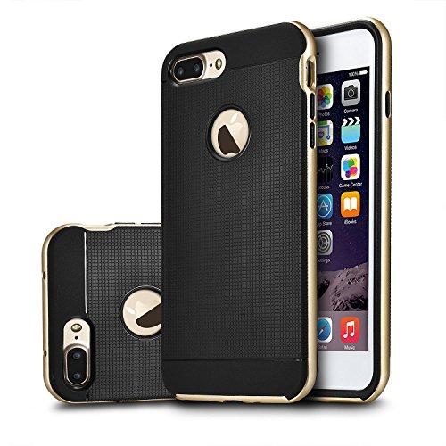 tinxi® Coque Apple iPhone 7 Plus 5,5 Pouces Coque de protection en silicone TPU Housse Case Etui Cover Protection/Noir Noir+cadre or