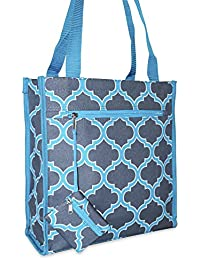 Ever Moda Quatrefoil Tote Bag (Teal Blue)