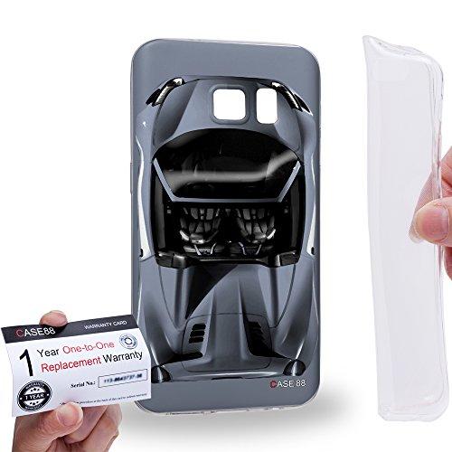 Case88 [Samsung Galaxy S7] Gel TPU Hülle / Schutzhülle & Garantiekarte - Art Design Sliver Sport Car Art1303